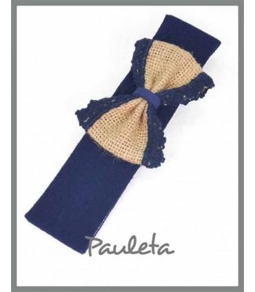 Diademas bebe azul marino con lazo de yute con bolillo de color azul marino P4561-12