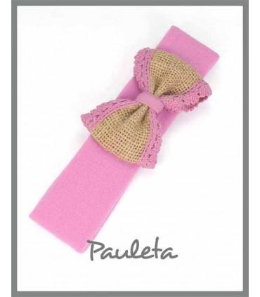 Diademas bebe rosa palo con lazo de yute con bolillo rosa palo P4561-21
