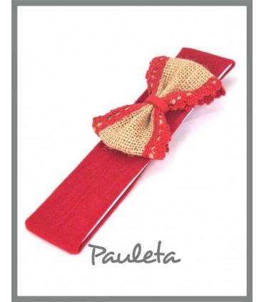 Diademas bebe roja con lazo de yute con bolillo rojo P4561-31