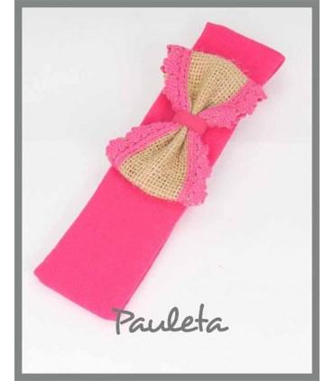 Diademas bebe rosa fresa con lazo de yute con bolillo beige P4561-28