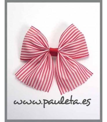 Pinza para el pelo con lazo de rayas de color rojo P7156-31