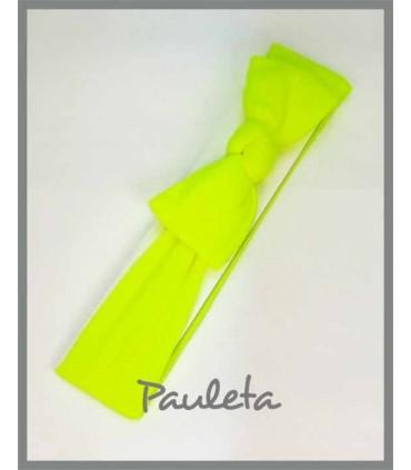 Turbante amarillo fluor para bebe con nudo P4178-72