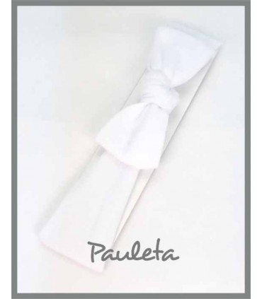 Turbante blanco para bebe con nudo P4178-01