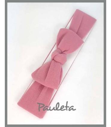 Turbante rosa empolvado para bebe con nudo P4178-61