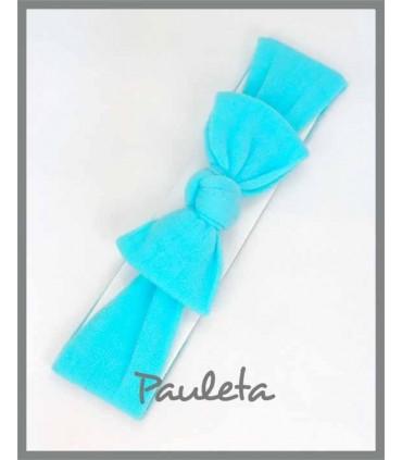 Turbante azul turquesa para bebe con nudo P4178-65