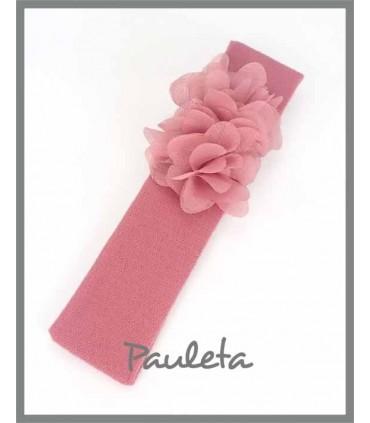 Cintas para el pelo con flores de color rosa empolvado 4642-61