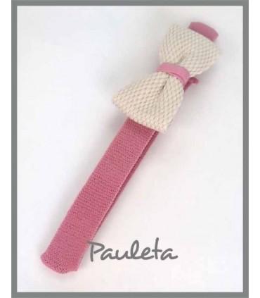 Diademas de bebe rosa empolvado con lazo trenzado de algodón P3641-61