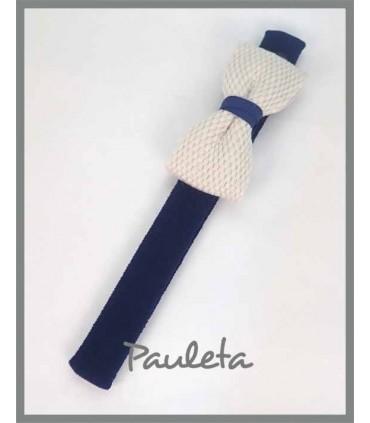 Diademas de bebe azul marino con lazo trenzado de algodón P3641-12