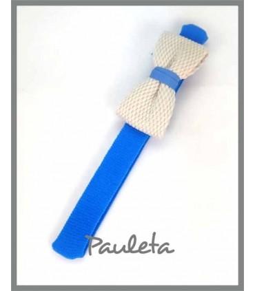 Diademas de bebe azul imperial con lazo trenzado de algodón P3641-09