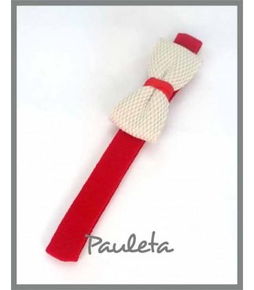 Diademas de bebe roja con lazo trenzado de algodón P3641-31