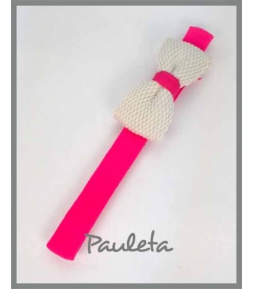 Diademas de bebe rosa fresa con lazo trenzado de algodón P3641-28
