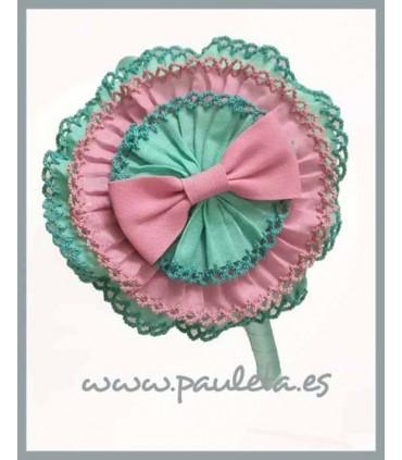 Diademas para niñas con tocado de color verde agua y rosa empolvado P5279-56-61