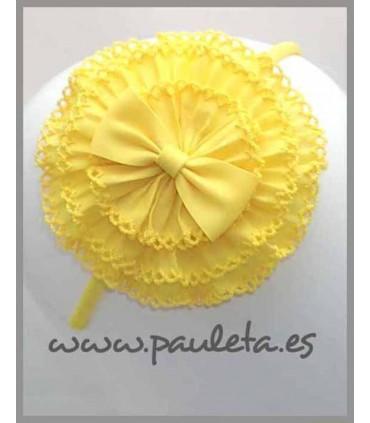 Diadema amarilla para niñas con tocado P5279-35