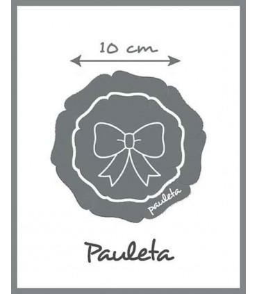 La medida de la diadema azul celeste para el pelo con tocado redondo es de 10 cm aprox. P5438-05