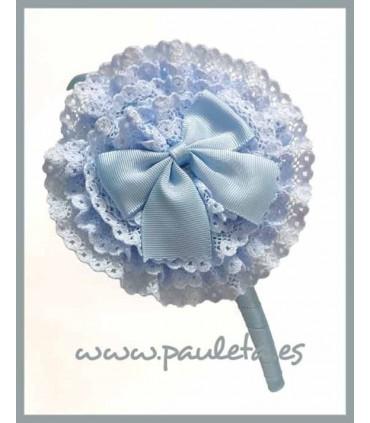 Diadema azul celeste para el pelo con tocado redondo P5438-05
