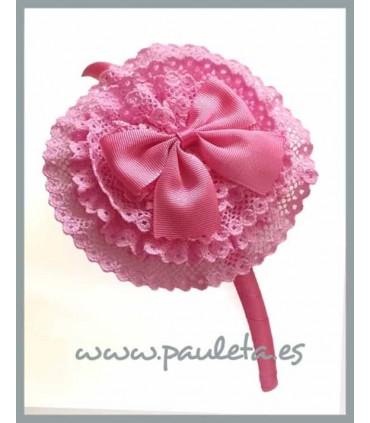 Diadema rosa chicle para el pelo con tocado redondo P5438-27