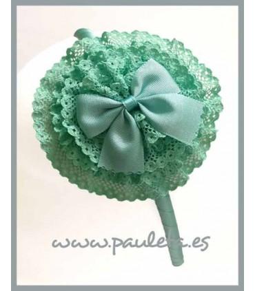 Diadema para el pelo de color verde agua con tocado redondo P5438-56