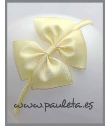 Diadema con lazo doble color amarillo pastel 5109-34