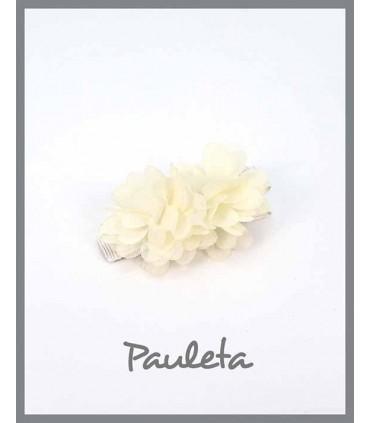 Pinzas para el pelo niña flores beige P7619-03