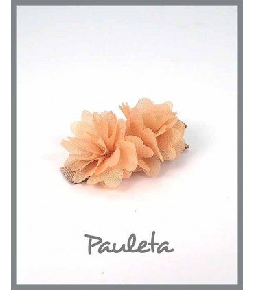 Pinzas para el pelo niña flores camel P7619-46