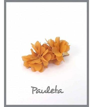 Pinzas para el pelo niña flores mostaza P7619-48