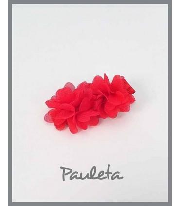Pinzas para el pelo niña flores rojas P7619-69