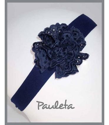 Turbante para bebe con moña de color azul marino P4615-12