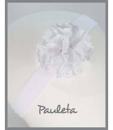 Turbante para bebe con moña de color blanco P4615-01