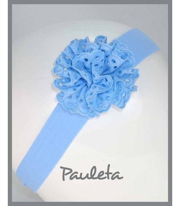 Turbante para bebe con moña de color azul celeste P4615-05