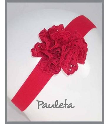 Turbante para bebe con moña de color rojo P4615-31