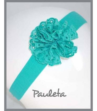 Turbante para bebe con moña de color verde agua P4615-56