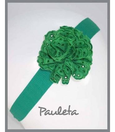 Turbante para bebe con moña de color verde Andalucía P4615-41