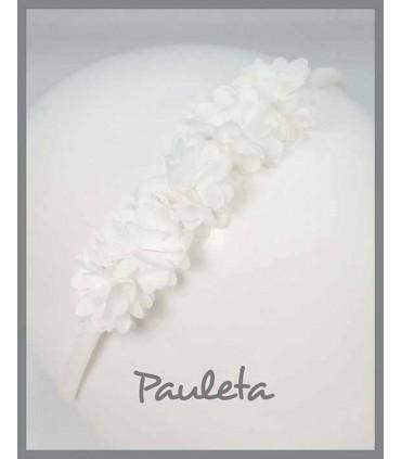 Diadema flores niña de color blanco P5618-01