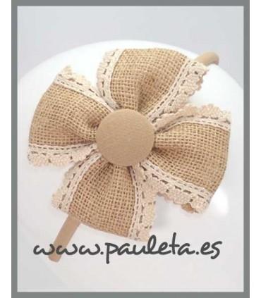 Diadema para niña de yute color beige 5606