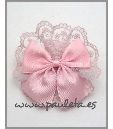 Lazo para el pelo para niñas con encaje rosa pastel P7534-24