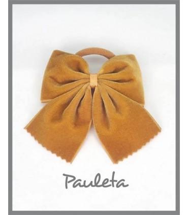 Coletero de terciopelo de color mostaza para niñas P1336-48
