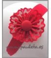 Diadema de bebe roja con detalle de puntilla P4427-31