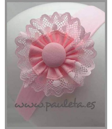 Diadema de bebe rosa bebe con detalle de puntilla P4427-24