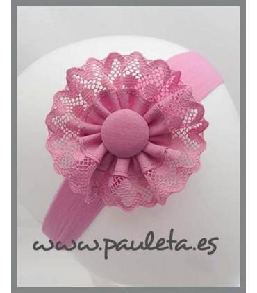 Diadema de bebe rosa palo bebe con detalle de puntilla P4427-21