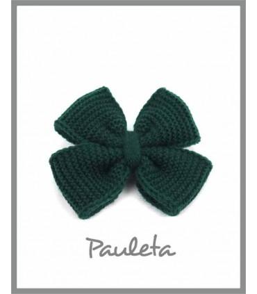 Lazo de lana para el pelo de color verde botella P7627-44