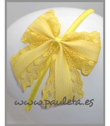 Diademas de lazo con puntillas e color amarillo 5421-35