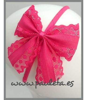 Diademas de lazo con puntillas de color rosa fucsia 5421-28