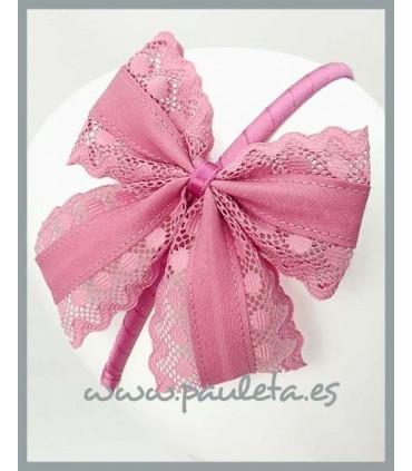 Diademas de lazo con puntillas de color rosa palo 5421-21